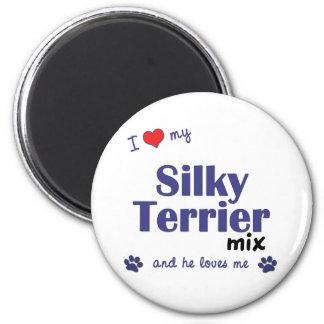 Amo mi mezcla de Terrier sedoso (el perro masculin Imán De Frigorifico