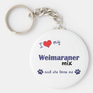 Amo mi mezcla de Weimaraner (el perro femenino) Llavero Redondo Tipo Pin