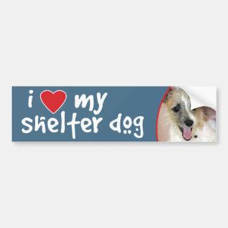Amo mi mezcla de Yorkie del perro del refugio Pegatina De Parachoque