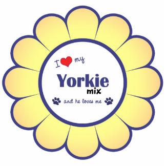 Amo mi mezcla de Yorkie (el perro masculino) Adorno Fotoescultura
