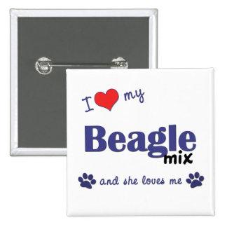 Amo mi mezcla del beagle (el perro femenino) pin cuadrado
