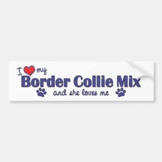 Amo mi mezcla del border collie (el perro femenino pegatina para auto