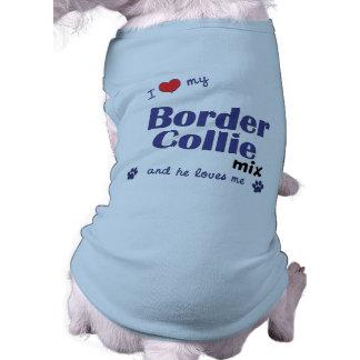 Amo mi mezcla del border collie (el perro masculin playera sin mangas para perro