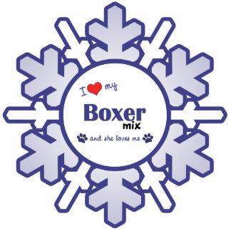 Amo mi mezcla del boxeador (el perro femenino) adorno fotoescultura