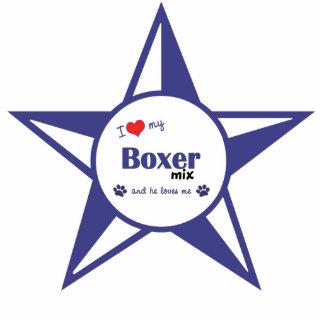 Amo mi mezcla del boxeador (el perro masculino) adorno fotoescultura