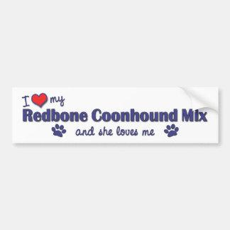 Amo mi mezcla del Coonhound de Redbone (el perro f Pegatina Para Auto