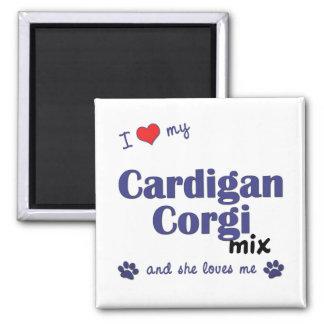 Amo mi mezcla del Corgi de la rebeca (el perro fem Imán Cuadrado