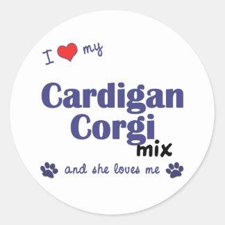 Amo mi mezcla del Corgi de la rebeca (el perro Pegatina Redonda