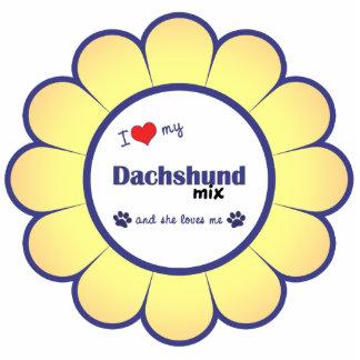Amo mi mezcla del Dachshund (el perro femenino) Adorno Fotoescultura