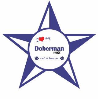 Amo mi mezcla del Doberman (el perro masculino) Adorno Fotoescultura