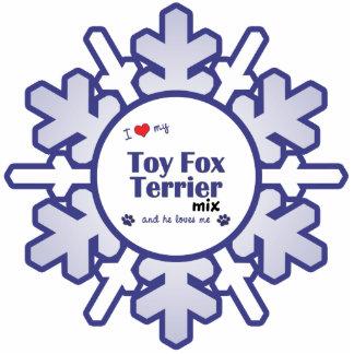 Amo mi mezcla del fox terrier del juguete (el perr adorno fotoescultura