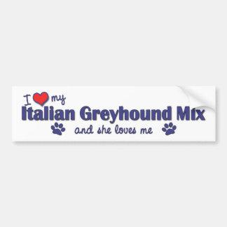 Amo mi mezcla del galgo italiano (el perro femenin pegatina para auto