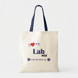 Amo mi mezcla del laboratorio (el perro femenino) bolsa de mano