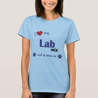 Amo mi mezcla del laboratorio (el perro masculino) playera