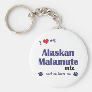 Amo mi mezcla del Malamute de Alaska (el perro mas Llavero Redondo Tipo Pin