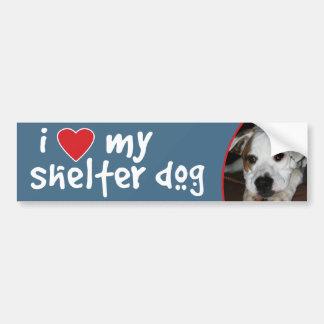 Amo mi mezcla del Mastín-Dogo del perro del refugi Etiqueta De Parachoque