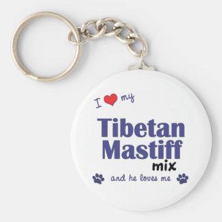 Amo mi mezcla del mastín tibetano (el perro mascul llavero redondo tipo pin