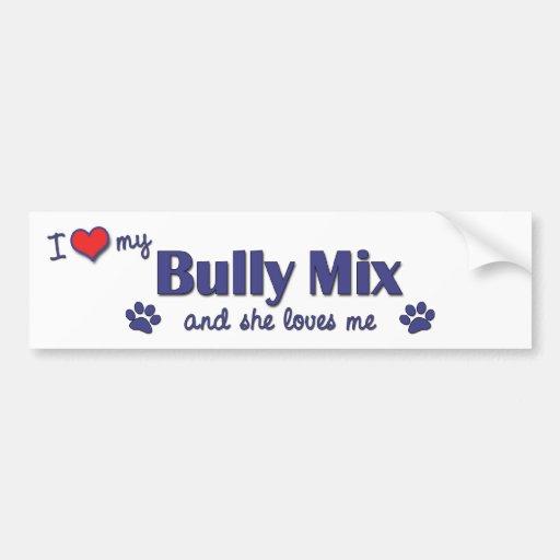 Amo mi mezcla del matón (el perro femenino) pegatina para auto