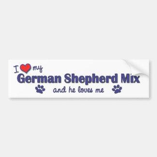Amo mi mezcla del pastor alemán (el perro masculin pegatina de parachoque