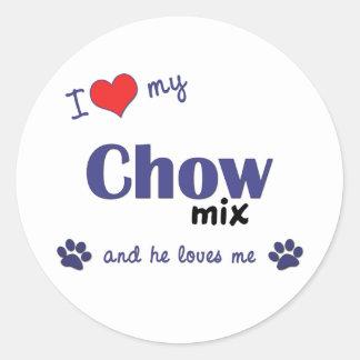 Amo mi mezcla del perro chino el perro masculino pegatinas
