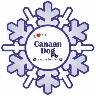 Amo mi mezcla del perro de Canaan (el perro femeni Adorno Fotoescultura