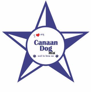 Amo mi mezcla del perro de Canaan (el perro mascul Adorno Fotoescultura