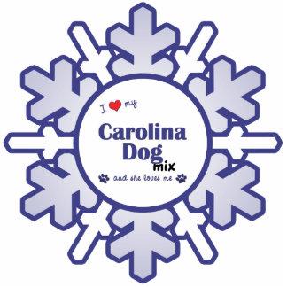 Amo mi mezcla del perro de Carolina (el perro feme Adorno Fotoescultura