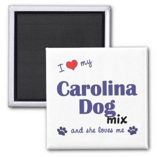 Amo mi mezcla del perro de Carolina (el perro feme Imán Cuadrado