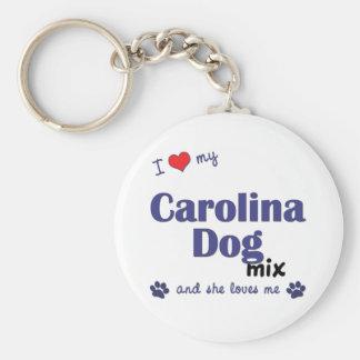 Amo mi mezcla del perro de Carolina (el perro feme Llavero Redondo Tipo Pin
