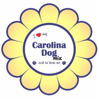 Amo mi mezcla del perro de Carolina (el perro masc Adorno Fotoescultura