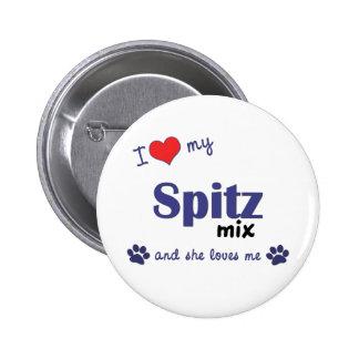 Amo mi mezcla del perro de Pomerania (el perro fem Pin Redondo De 2 Pulgadas
