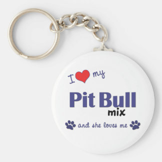 Amo mi mezcla del pitbull (el perro femenino) llavero redondo tipo pin