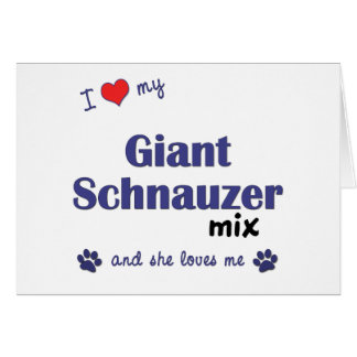 Amo mi mezcla del Schnauzer gigante el perro feme Tarjeton