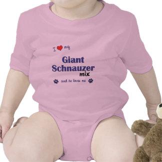 Amo mi mezcla del Schnauzer gigante el perro masc Camisetas