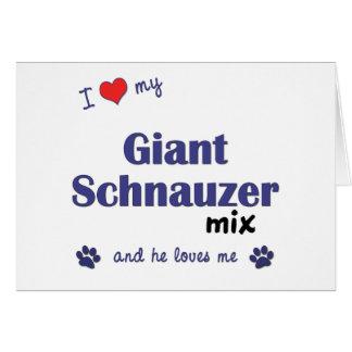 Amo mi mezcla del Schnauzer gigante el perro masc Felicitación