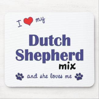 Amo mi mezcla holandesa del pastor (el perro femen tapete de ratón