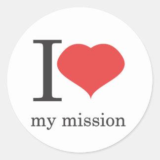 amo mi misión pegatina redonda