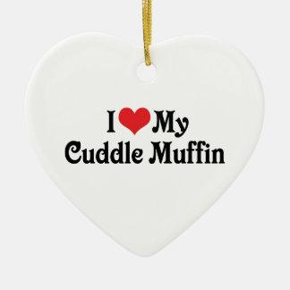 Amo mi mollete de la abrazo adorno navideño de cerámica en forma de corazón