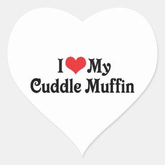 Amo mi mollete de la abrazo pegatina en forma de corazón