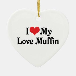 Amo mi mollete del amor adorno navideño de cerámica en forma de corazón