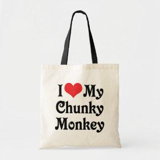 Amo mi mono macizo bolsa de mano