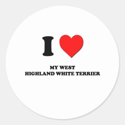 Amo mi montaña Terrier blanco del oeste Etiquetas