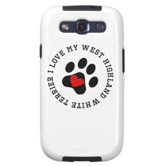 Amo mi montaña Terrier blanco del oeste Samsung Galaxy S3 Protector