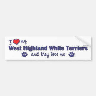 Amo mi montaña Terrier blanco del oeste (los perro Pegatina Para Auto