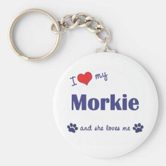 Amo mi Morkie (el perro femenino) Llavero Redondo Tipo Pin
