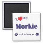 Amo mi Morkie (el perro masculino) Iman De Frigorífico