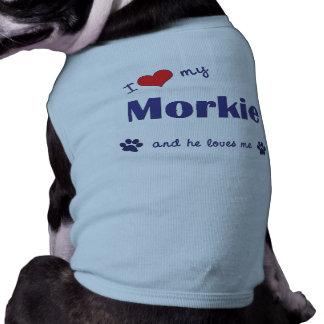 Amo mi Morkie (el perro masculino) Camisetas Mascota