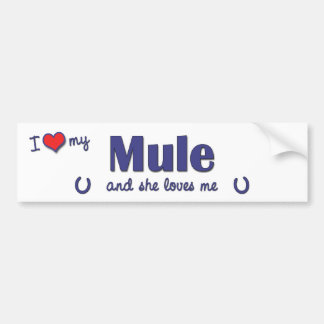 Amo mi mula (la mula femenina) pegatina para auto