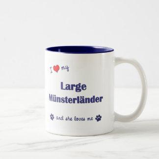 Amo mi Munsterlander grande (el perro femenino) Taza De Café De Dos Colores