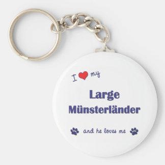 Amo mi Munsterlander grande (el perro masculino) Llavero Redondo Tipo Pin